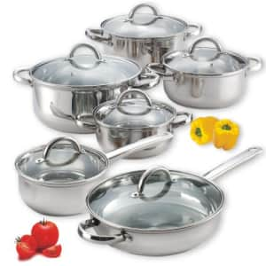 Cook N Home 12-Piece Stainless Steel Cookware Set, Silver for $86