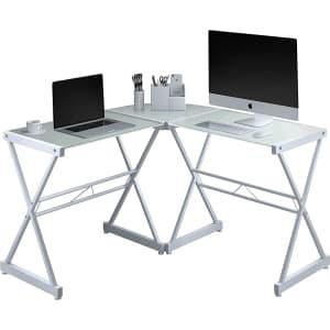 "Techni Mobili 51"" L-Shaped Glass-Top Desk for $94"