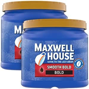 Maxwell House Smooth Bold Dark Roast Ground Coffee (2 ct Pack, 26.7 oz Canisters) for $6