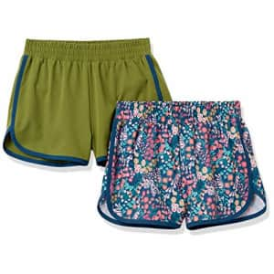 Amazon Essentials Girls' Active Performance Running Shorts, 2-Pack Olive/Floral, X-Small for $16
