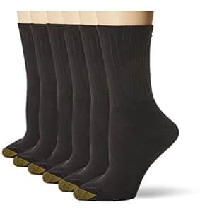 Gold Toe Women's Casual Ribbed Crew Socks, 6-Pairs, Black, Medium for $10