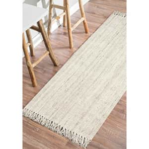 """nuLOOM Natura Collection Chunky Loop Jute Runner Rug, 2' 6"""" x 10', Off-White for $100"""