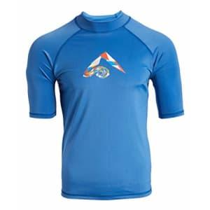 Kanu Surf Men's Paradise UPF 50+ Short Sleeve Sun Protective Rashguard Swim Shirt, Tahiti Denim for $22