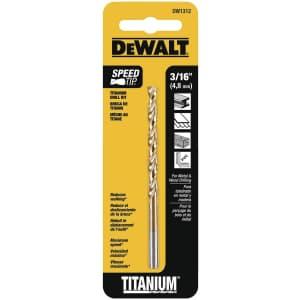 """DeWalt 3/16"""" Titanium Split Point Twist Drill Bit for $5"""