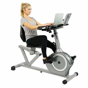 Sunny Health & Fitness Magnetic Recumbent Desk Exercise Bike, 350lb High Weight Capacity, Monitor - for $308