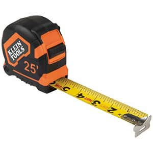 Klein Tools 9125 Tape Measure, 25-Foot Single-Hook Measuring Tape, Non-magnetic with Retraction for $27