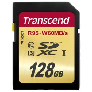 Transcend 128 GB High Speed 10 UHS-3 Flash Memory Card 95/60 MB/s (TS128GSDU3) for $102