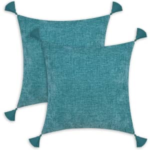 """CaliTime 18"""" x 18"""" Chenille Throw Pillow Cases 2-Pack for $5"""