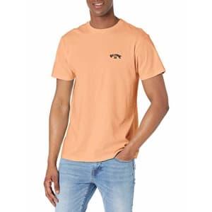 Billabong Men's Classic Short Sleeve Premium Logo Graphic Tee T-Shirt, Arch Light Peach, X-Large for $25