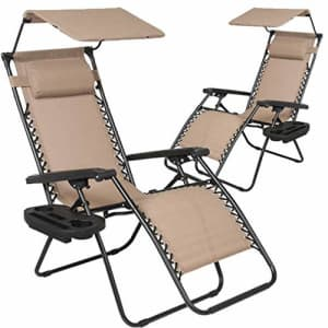 BestMassage Patio Chairs Zero Gravity Chair Lounge Chair 2Pack Recliner for Outdoor Funiture W/Folding Canopy for $209
