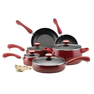 Paula Deen Signature 12512 15-pc. nonstick porcelain cookware set in red for $85