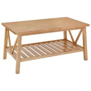"StyleWell Bannerton 42"" Wood Coffee Table w/ Shelf for $90"