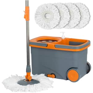 Casabella Microfiber Spin Mop and Bucket with 4 Refills for $49