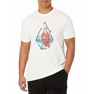 Volcom Men's Nozaka Surf Short Sleeve T-Shirt, White, Small for $29