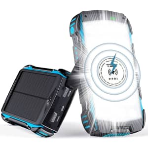 Gortheus 30,000mAh Solar Charger with Fast Charger for $26