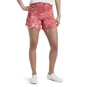 HUE Women's Ultra Soft Denim High Waist Shorts, Red Hot - Tie Dye, Small for $20
