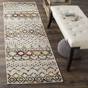 Safavieh Amsterdam Collection AMS108A Boho Chic Moroccan Distressed Area Rug, 10' x 14', Ivory/Grey for $31