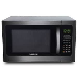 Farberware 1.2 Cu. Ft. 1100-Watt Microwave Oven with Grill, Cubic Foot, Black Stainless Steel for $220