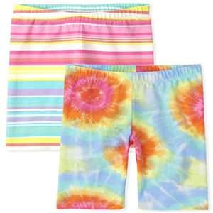 The Children's Place Girls Rainbow Print Shorts 2-Pack, Bright Pink, S (5/6) for $9