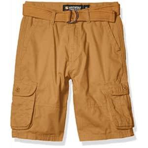 Southpole - Kids Boys' Big Belted Ripstop Basic Cargo Shorts, Wheat As, 12 for $16