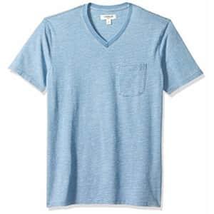 Amazon Brand - Goodthreads Men's Short-Sleeve Indigo V-Neck Pocket T-Shirt, Light Feeder Stripe, for $20
