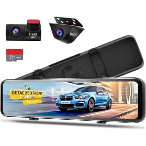 """Pormido 12"""" Mirror Dash Cam for $220"""