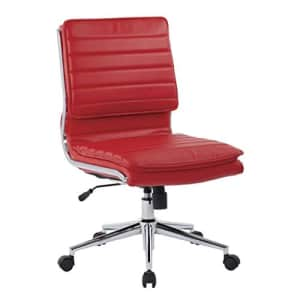 Office Star Faux Leather Armless Mid Back Managers Chair with Chrome Base, Red for $240
