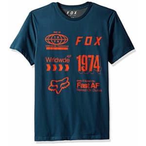 Fox Head Fox Men's Airline TruDri Modern Fit Short Sleeve Tech T-shirt, Blue/Green, S for $15