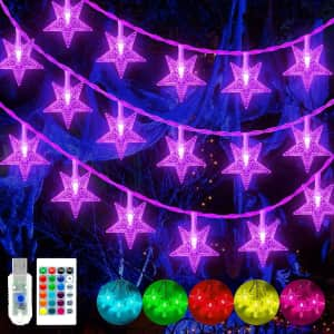 Ollny 49-Ft. Color Changing Star String Lights for $25