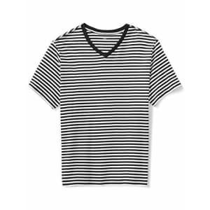 Amazon Essentials Men's Short-Sleeve Stripe V-Neck T-Shirt, -Black/White, 3XLT for $18