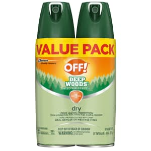 OFF! Deep Woods Insect Repellent VIII Dry 4-oz. Spray Can 2-Pack for $8