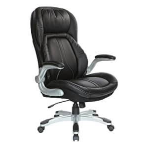 Office Star Bonded Leather Executive Chair with Padded Flip Arms and Silver Base, Black for $573