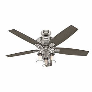 """Hunter Fan HUNTER 54190 Bennett Indoor Ceiling Fan with LED Light and Remote Control, 52"""", Brushed Nickel for $239"""