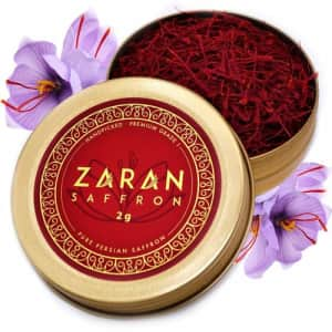 Zaran Saffron All-Red Persian Saffron Spice Threads 2-Gram Tin for $10