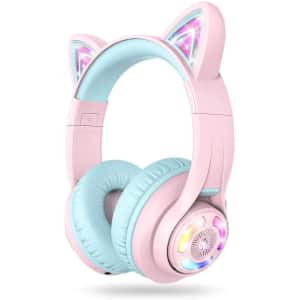 iClever Kids' Cat Ear Wireless Bluetooth Headphones for $37