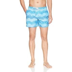 2(X)IST Men's Hampton Pattern Swim Trunk Swimwear, Wavy Fish Print Blue, XL for $42