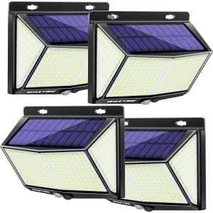 Wakyme LED Solar Wall Light 4-Pack for $27