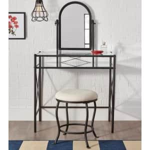 StyleWell Metal Vanity Set w/ Upholstered Stool for $143