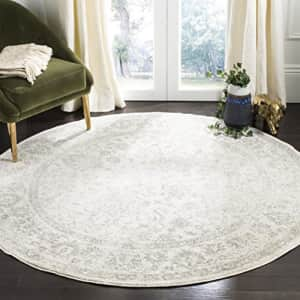 Safavieh Adirondack Collection ADR109C Ivory/Silver Vintage Oriental Distressed Area Rug 8' Round for $144
