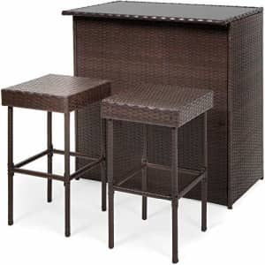 Best Choice Products 3-Piece All-Weather Wicker Bar Table Set for Indoor Outdoor, Kitchen, Patio, for $200
