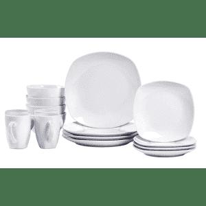 Tabletops Gallery Logan 16-Piece Soft Square Ceramic Dinnerware Set for $28