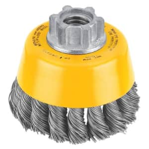Dewalt DW4910 5 Pack 3-Inch by 5/8-Inch-11 Knotted Cup Brush/Carbon Steel .020-Inch for $16