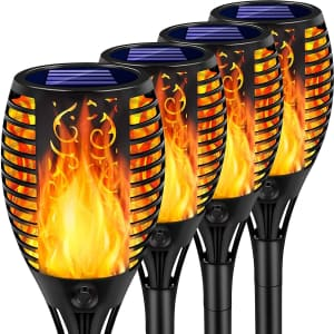Arrinew LED Solar Torch Lights 4-Pack for $40