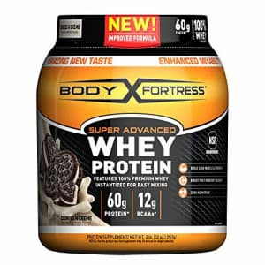 Body Fortress Super Advanced Whey Protein Powder, Cookies N' Cream, 2 Pound(Packaging May Vary) for $17