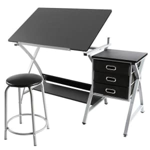 SmileMart Adjustable Steel Drafting Table with Stool for $83