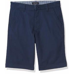 Nautica Boys' Stretch Twill Flat Front Shorts, Dark Navy, 7 for $16