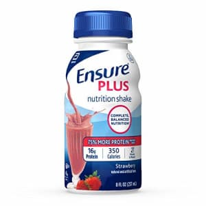 Ensure Plus Nutrition Shake with 13 grams of protein, Meal Replacement Shakes, Strawberry, 8 fl oz, for $17