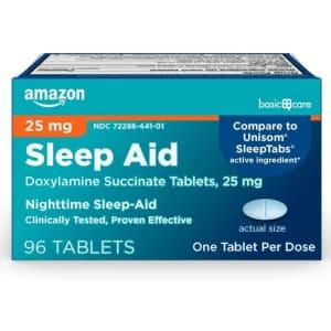 Amazon Basic Care Sleep Aid Tablets 96-Count for $4
