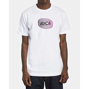 RVCA Men's SATURNED Short Sleeve Crew Neck T-Shirt, Black, L for $5