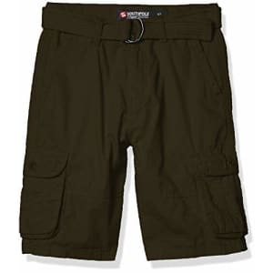 Southpole - Kids Boys' Big Belted Ripstop Basic Cargo Shorts, Olive As, 12 for $16